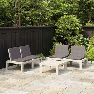 vidaXL Loungegrupp för trädgården 3 delar med dynor plast vit, Vit