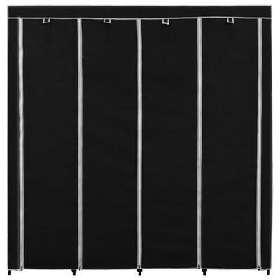 vidaXL Garderob med 4 fack svart 175x45x170 cm