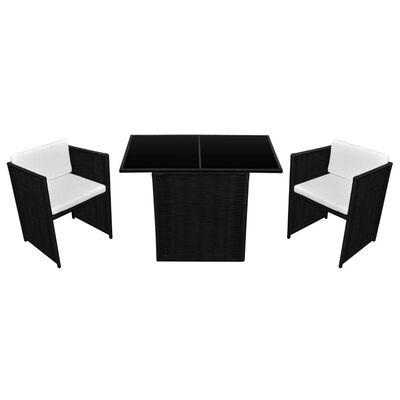 vidaXL Bistrogrupp med dynor 3 delar konstrotting svart