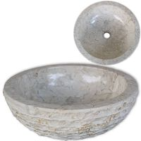 vidaXL Handfat Marmor 40 cm Gräddvit