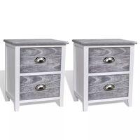 vidaXL Sängbord 2 st med 2 lådor grå och vit