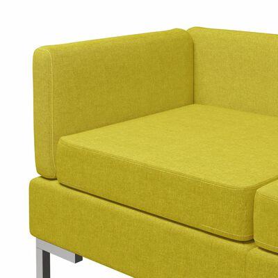vidaXL Hörnsits till modulsoffa 2 st med dynor tyg gul
