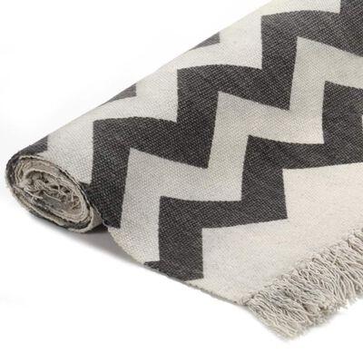 vidaXL Kelimmatta bomull 120x180 cm med mönster svart/vit