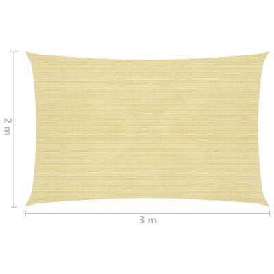 vidaXL Solsegel 160 g/m² beige 2x3 m HDPE