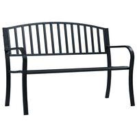 vidaXL Trädgårdsbänk 125 cm svart stål