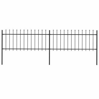 vidaXL Trädgårdsstaket med spjuttopp stål 3,4x0,8 m svart
