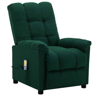 vidaXL Massagefåtölj mörkgrön tyg