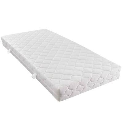 vidaXL Säng med madrass beige tyg 140x200 cm
