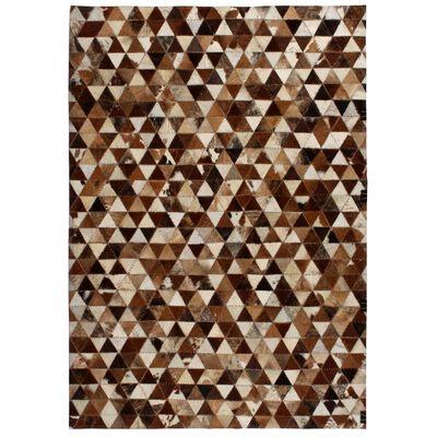 vidaXL Matta äkta läder lappad trekanter 120x170 cm brun/vit