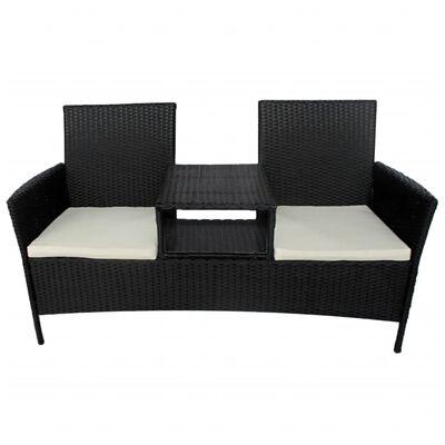 vidaXL Trädgårdssoffa 2-sits med bord konstrotting svart