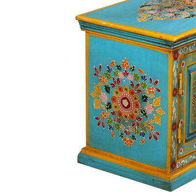 vidaXL TV-bänk massivt mangoträ blå handmålad