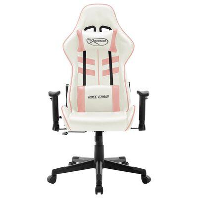 vidaXL Gamingstol vit och rosa konstläder