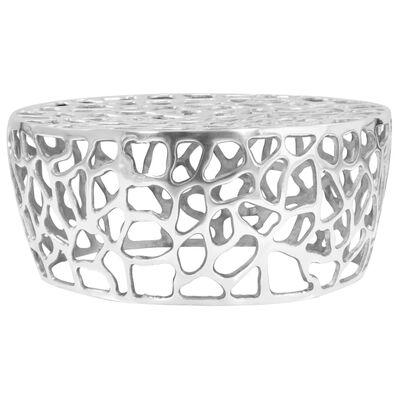 vidaXL Soffbord gjuten aluminium 70x30 cm silver