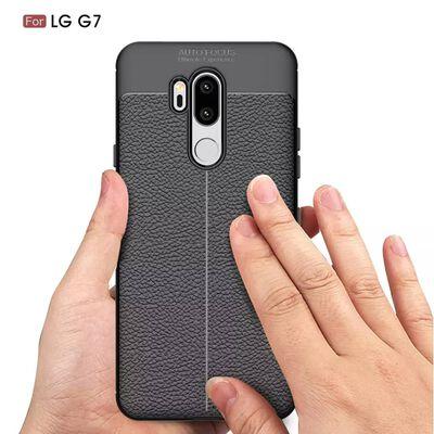 LG G7 ThinQ Litchi Texture TPU Skal - Svart