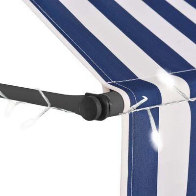 vidaXL Markis manuellt infällbar med LED 250 cm blå och vit, Blueandwhite