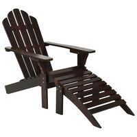 vidaXL Trädgårdsstol med ottoman trä brun