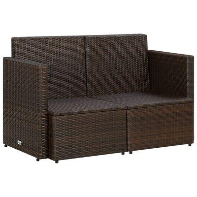 vidaXL Trädgårdssoffa 2-sits med dynor konstrotting brun, Brun