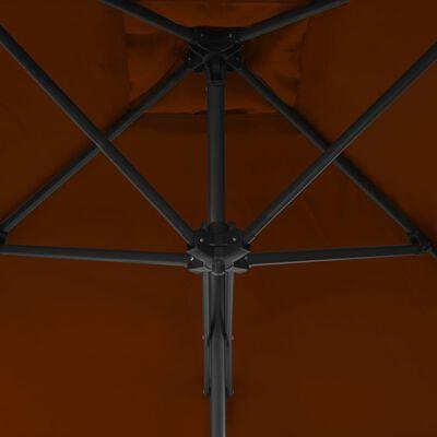 vidaXL Trädgårdsparasoll med stålstång terrakotta 300x230 cm