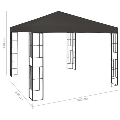 vidaXL Paviljong 3x3 m antracit