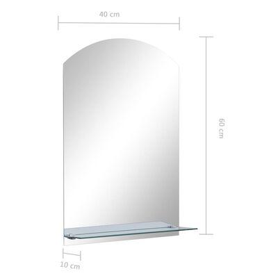 vidaXL Väggspegel med hylla 40x60 cm härdat glas