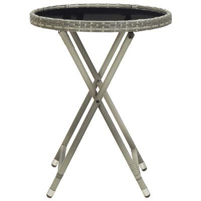 vidaXL Tebord grå 60 cm konstrotting och härdat glas