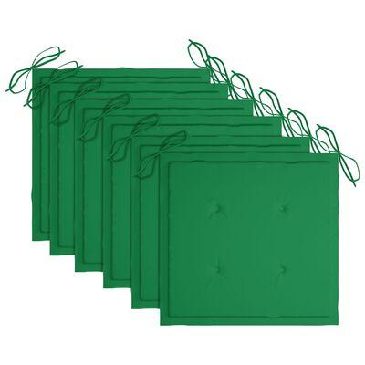 vidaXL Hopfällbara trädgårdsstolar med dynor 6 st massivt akaciaträ