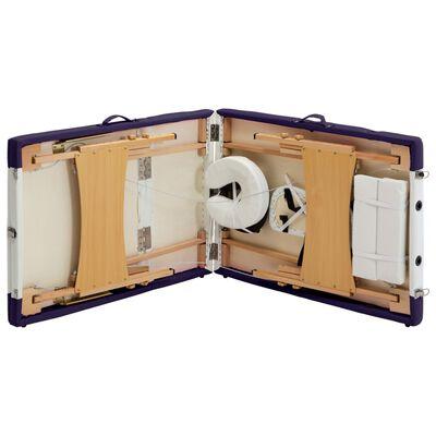 vidaXL Hopfällbar massagebänk 3 sektioner trä vit och lila