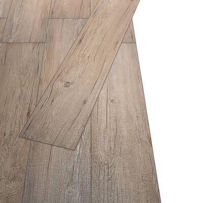 vidaXL Golvbrädor i PVC 5,26 m² 2 mm brun ek