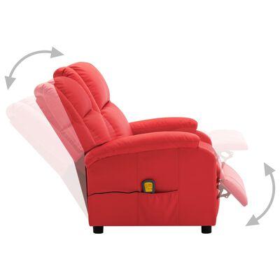 vidaXL Elektrisk massagefåtölj röd konstläder