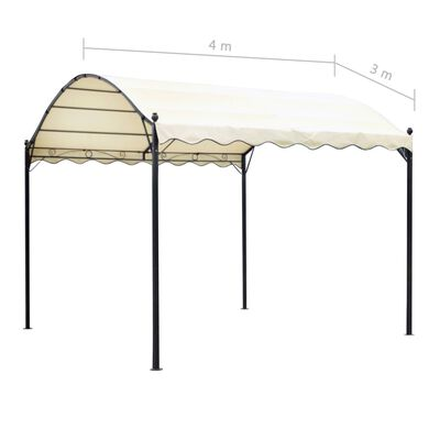 vidaXL Tak till paviljong beige 4x3 m tyg