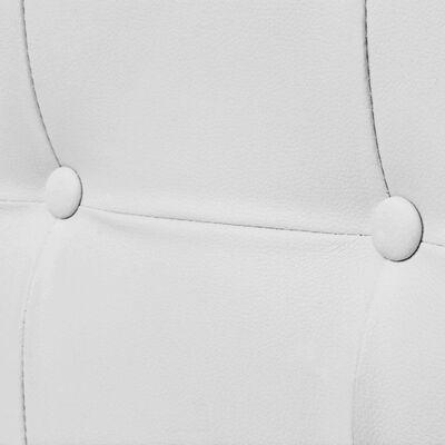 vidaXL Soffa med armstöd 2-sits konstläder och stål vit