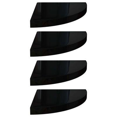 vidaXL Svävande hörnhyllor 4 st svart högglans 35x35x3,8 cm MDF