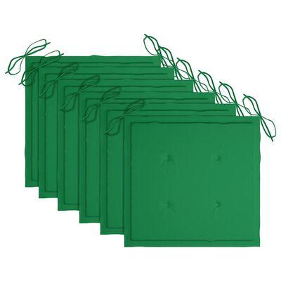 vidaXL Trädgårdsstolar 6 st med dynor massiv teak