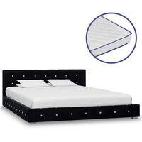 vidaXL Säng med memoryskummadrass svart sammet 140x200 cm, Black