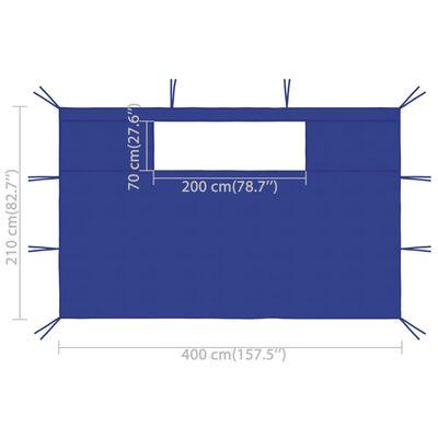 vidaXL Sidoväggar med fönster till partytält 2 st blå