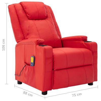 vidaXL Massagestol röd konstläder