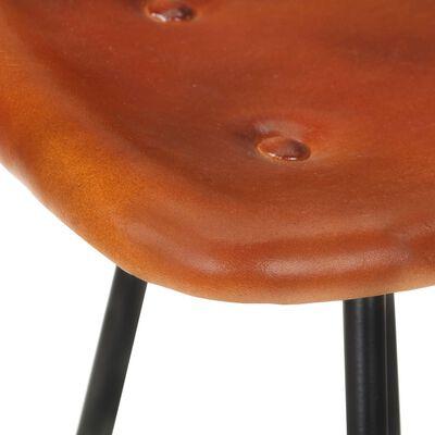 vidaXL Barstolar 2 st brun äkta skinn