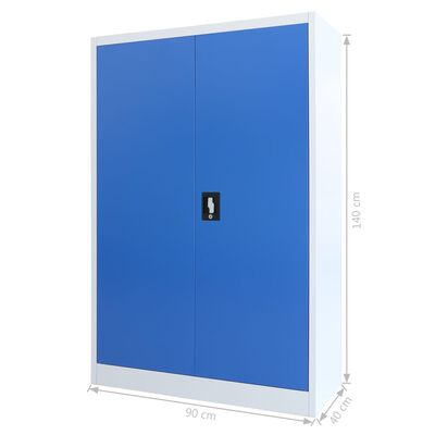 vidaXL Kontorsskåp metall 90x40x140 cm grå och blå