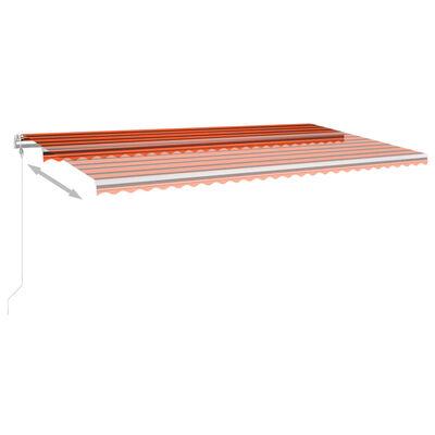 vidaXL Markis med stolpar manuellt infällbar 6x3 m orange och brun