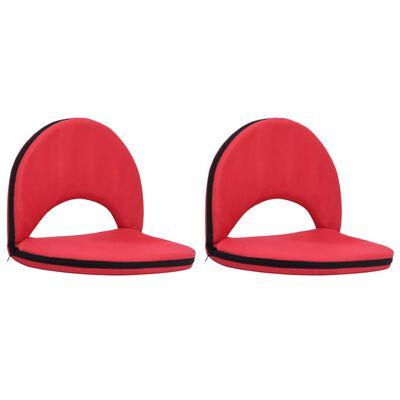 vidaXL Golvstol hopfällbar 2 st röd stål och tyg