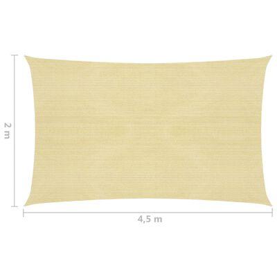 vidaXL Solsegel 160 g/m² beige 2x4,5 m HDPE