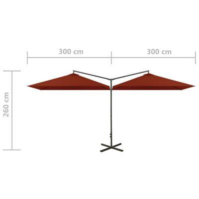 vidaXL Dubbelt parasoll med stålstång terrakotta 600x300 cm