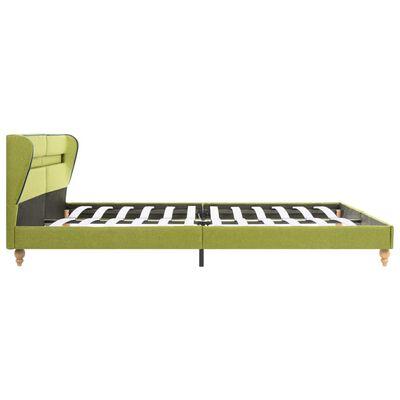 vidaXL Säng med LED och madrass grön tyg 180x200 cm