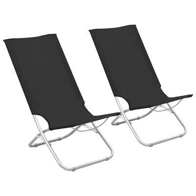 vidaXL Hopfällbara strandstolar 2 st svart tyg