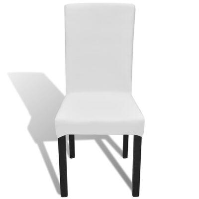 vidaXL Rakt elastiskt stolsöverdrag 4 st vit