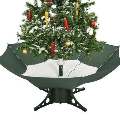 vidaXL Julgran med snö och paraplybas grön 140 cm