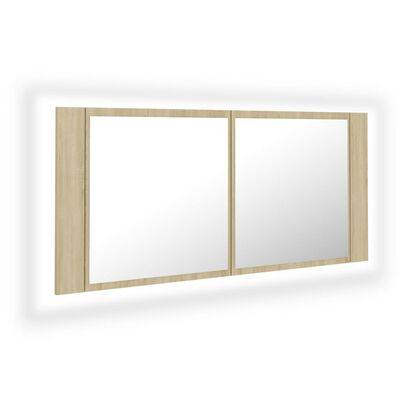 vidaXL Spegelskåp med LED sonoma-ek 100x12x45 cm