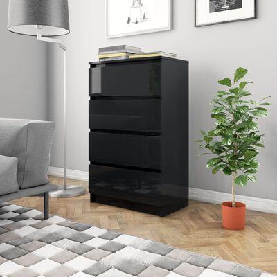 vidaXL Skänk svart högglans 60x35x98,5 cm spånskiva