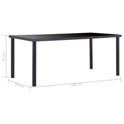 vidaXL Matbord svart 180x90x75 cm härdat glas