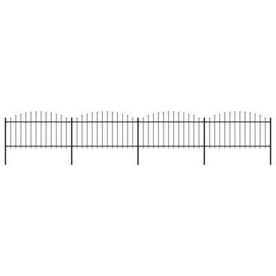 vidaXL Trädgårdsstaket med spjuttopp stål (1,25-1,5)x6,8 m svart